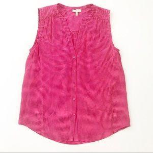 Joie Silk Shirt Top gingham XS pink sleeveless